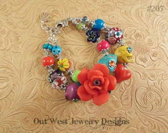 Chunky Day of the Dead Bracelet with Howlite Turquoise Sugar Skulls and Lampwork No. 207