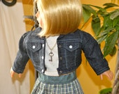 18 Inch Doll Drop Waist Plaid Pleated Skirt, Tshirt, Blue Jean Jacket and Silver Key Necklace by SEWSWEETDAISY