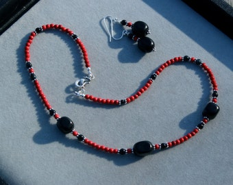 Set - Coral and Jet with Black on onyx necklace and earrings by EvyDaywear, one-of-a-kind only designer jewlery