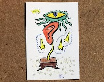 Alien Ear Trophy - Tiny Painting