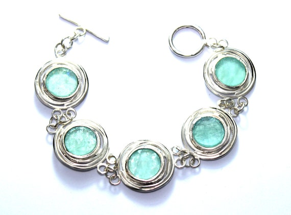 Amazing Round Wire  Ancient Roman Glass 925 Silver  Bracelet