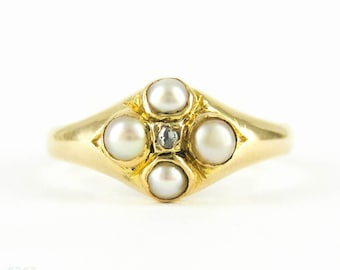 Antique Pearl & Diamond Ring, Victorian 18 Carat Gold Gemstone Cluster Ring. Fully Hallmarked, Circa 1860s.