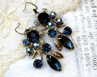 Evening Rose, Vintage Deep Denim Navy Blue Rhinestone Filigree Flower Upcycled Earrings, Hollywood Hillbilly