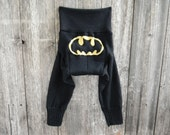 LARGE Upcycled Merino Wool Longies Soaker Cover Diaper Cover With Added Doubler Black With Batman Applique  LARGE 12-24M Kidsgogreen