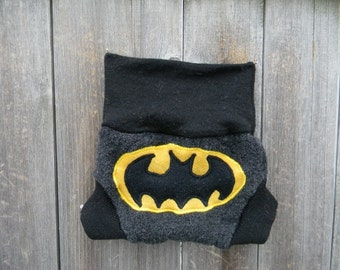 Upcycled Merino Wool Soaker Cover Diaper Cover With Added Doubler Charcoal Gray/ Black With Batman  Applique NEWBORN 0-3M Kidsgogreen