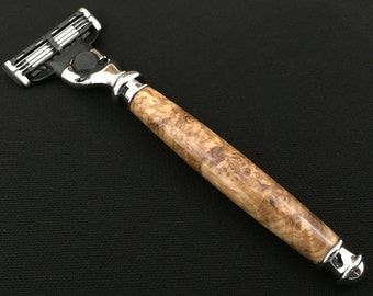 Razor Handle - Mach 3 - Black Ash Burl Wood with Chrome Hardware