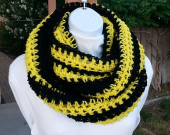 Black and Bright Yellow Crochet INFINITY SCARF, Chunky Winter Cowl, Bulky Loop Scarf, Long Wide Knit Circle Acrylic Scarf..Ready to Ship