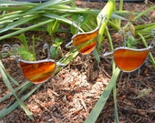 Stained Glass Birds in Orange Set of 3 - Garden Stakes - Suncatchers