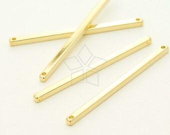 ME-222-GD / 4 Pcs - Sideways Long Stick Bar Pendant (M-Size), 16K Gold Plated over Brass / 40mm