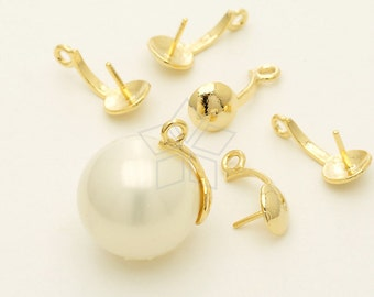 PS-078-GD / 4 Pcs - Scoop Cap and Bails for Half Drilled Pearls, Necklace Bail, Gold Plated over Brass / 11mm