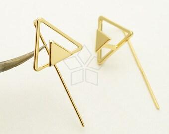 EA-173-GD / 2 Pcs - Geometric Triangle Hook Earrings, Mountain Earrings, Gold Plated over Brass / 14.5mm x 13mm