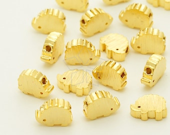 ME-241-GD / 2 Pcs - Mini Hedgehog Charms, Hedgehog Metal Beads Spacers, Gold Plated over Brass / 7mm x 5.5mm