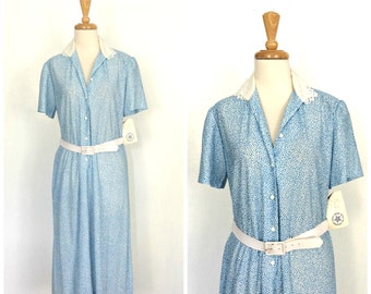 1940s Style Dress - 70s dress - shirtwaist dress - blue and white - NWT - spring summer dress - M L
