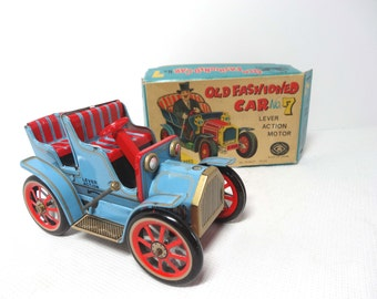 Old Fashioned Car #7 Box Included Blue and Red with Lever Action Made in Japan Tin Toys and Games Toys Play Vehicles Toy Cars