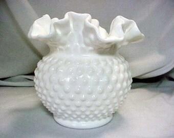 White Milk Glass Hobnail and Ruffled Bud Vase Home and Garden Decor Vases Flower Vases
