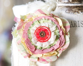 Fabric Flower Pin, Pastel Pink and Yellow, Maternity Corsage, Unique Gift Women, Scarf Pin, Floral Textile Brooch