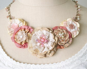 Blush Pink Fabric Flower Necklace, Statement Necklace, Bride Necklace, Gift for Women, Textile Jewelry, Unique Graduation Gift Girl