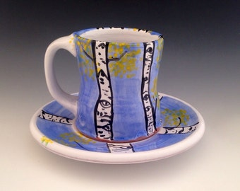 Mug Set, Cup and Plate with Aspen Trees, 8 oz.