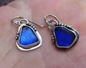 Sterling Silver and Colbalt Blue Beachglass Earrings
