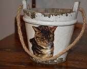 Wooden bucket with decoupage cat - wood pail