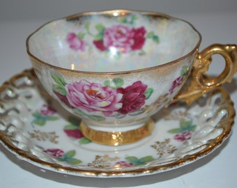 Shafford cup and saucer - very pretty pink flowers - vintage teacup - tea party