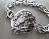 Horse Jewelry, Midnight Sun, Fine Silver Handcarved Horse Bracelet by SilverWishes, Recycled Silver, Personalized