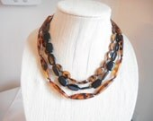 Vintage Multistrand  Faux Tortoise Shell Lucite Bead Necklace