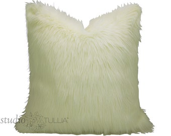 Furry Ivory Pillow Cover - faux fur - creamy ivory - Pick YOUR SIZE - between 16 - 26 inches - made to order
