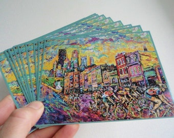 Pittsburgh Postcards, Cycling art, Buy 10 get one free, East Carson Street Pittsburgh, Historic South Side, artist Johno Prascak