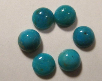 Pisco Blue Gem Chrysocolla cabs .......    6 pieces ...... 5 mm ....      a4050