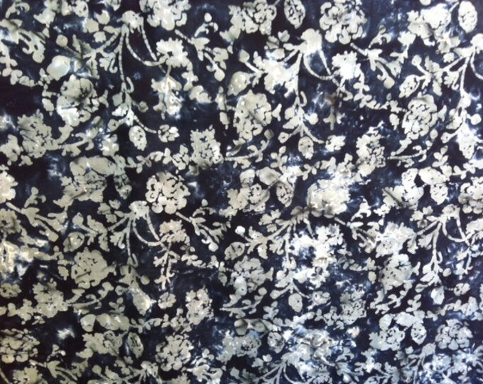 Black gray white floral Hand dyed batik fabric quilt fabric by the yard Fat quarter 100% cotton fabric yardage