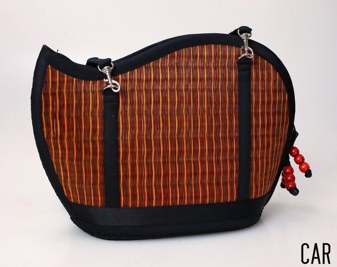 Handmade rust purse woven grass not bamboo wave shape crossbody or over the shoulder CAR