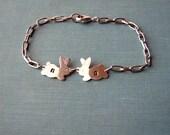 custom initial bracelet . silver bunny rabbit bracelet . personalized chain bracelet . initial bunny bracelet