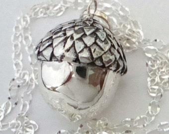 "36"" Sterling Silver Acorn maternity Bola Pregnancy Harmony Ball Pendant necklace  hm49-20"