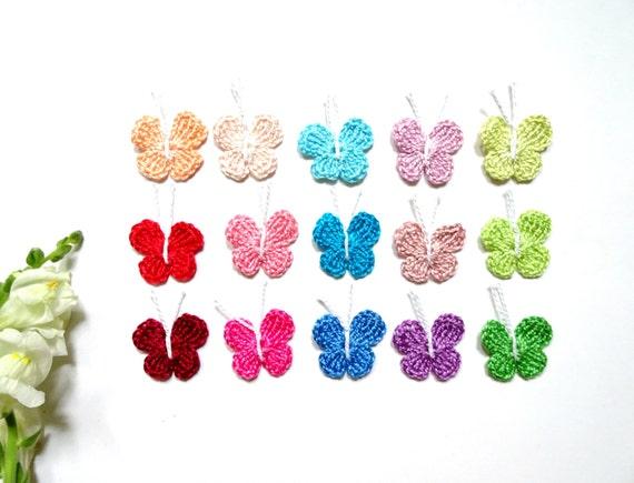 Crochet butterflies applique - butterfly embellishments - colorful butterflies - kids party decor - party favors - set of 15  ~1 inch