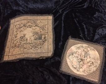 Pair Antique Bullion trimmed FRENCH mini tapestries (FFs1028)
