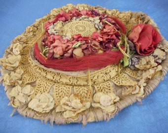 x Floral Wide Brimmed Straw Hat Circa 1900 Silk Flowers, Tulle and marvelous crocheted detail (FF061116-02J)