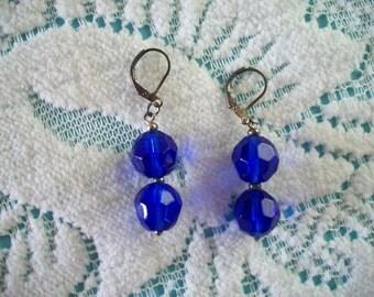 Dark Blue Double Bead Dangle Earrings