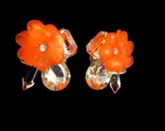 Flower Celluloid Rhinestone Teardrop Mirrored Earrings.  Teardrop Rhinestone Sparkle Earrings.  Flower Rhinestone Earrings.
