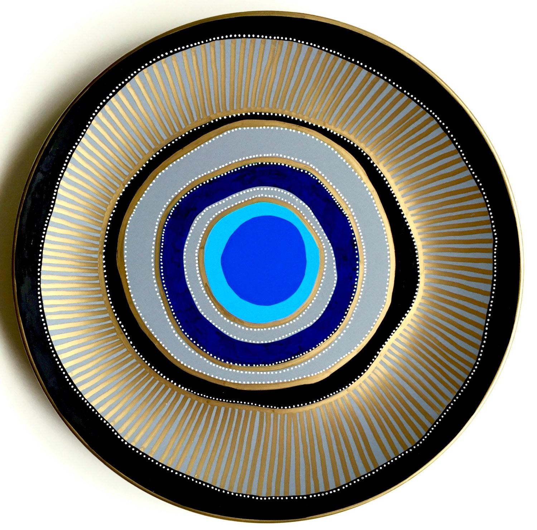 Blue Evil Eye Decor Decorative Plate Golden Black And Blue