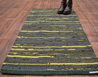 Handwoven Rug - 27x48 woven from Recycled T Shirts-Greens with chartreuse.  Washable & Reversible