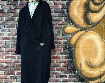 20s Vintage Faille Black Deco Flapper Coat with Cantaloupe Silk Lining