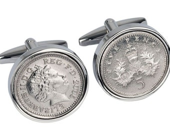 10 Year Anniversary -  Lucky English 2007 English Coin Cufflinks -  Includes presentation box - 100% satisfaction - 3 day delivery option