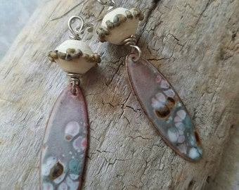 Lampwork and Enameled Copper Dangle Earrings, rustic, purple, lilac, crusty, long, white, silver, jewelry, handmade, splatter, Havana beads