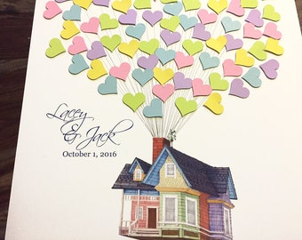 Movie Up inspired Wedding Guestbook alternative, guest book poster, flying house with balloons, Disney Wedding, 3D Guest Book guestbook