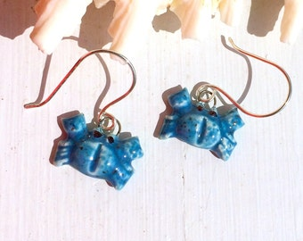 Blue Crab Ceramic Earrings on Sterling Silver Wire