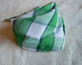 Baby Bib Bandana Scarf: Green and White Plaid Seersucker