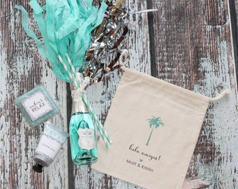 Hola Amigos Destination Wedding Favor Bags - Personalized Favor Bags - Set of 10 - Palm Tree - Mexico