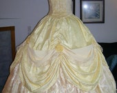 Ready to Ship Parks Belle Gown Custom Ladies Women 4 6  yellow sparkle rose embroidery velvet