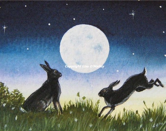 """ACEO Print """"Moonlove"""" Hare."""